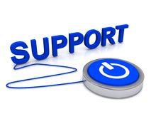Support illustration. An concept illustration of IT and general user support with a power button connected to the word support Stock Photos