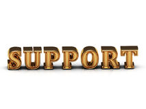 SUPPORT inscription large golden letter on white background Royalty Free Stock Photos