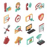 Support Isometric Icons Set Stock Photos