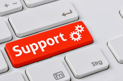 Support. A keyboard with a red button - Support Royalty Free Stock Photo