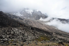 Support Kilimanjaro avec le regain Image libre de droits