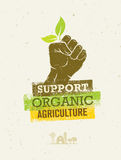 Support Local Farmers. Creative Organic Eco Vector Illustration on Recycled Paper Background Royalty Free Stock Photo