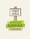 Support Local Farmers. Creative Organic Eco Vector Illustration on Recycled Paper Background Royalty Free Stock Photography
