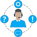 Support Male - blue color, service icons and headset Royalty Free Stock Images