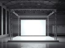 Support moderne en métal avec la bannière blanche rendu 3d Photographie stock libre de droits