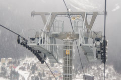 Support a monorail ropeway at ski resort Dombay Royalty Free Stock Photo