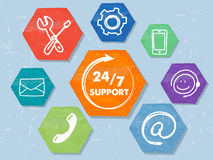 24/7 support with network signs, grunge drawn hexagons labels. 24/7 support with signs, colorful grunge drawn flat design hexagons labels with network symbols Stock Image