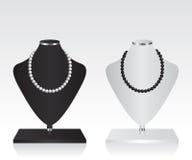 Support noir et blanc de bijoux de mannequin Photographie stock