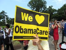 Support of Obamacare. Photo of supporter of obamacare at the supreme court in washington dc on 6/28/12.  The supreme court upheld president obama's health care Stock Photography