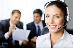 Support operator. Support phone operator at office Royalty Free Stock Photos