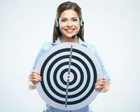Support operator hold big target. Business woman isolated portr. Ait. White background Royalty Free Stock Photography