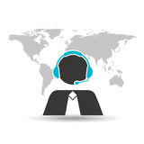Support operator silhouette man global service. Vector illustration eps 10 Royalty Free Stock Image