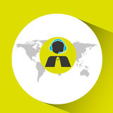 Support operator silhouette man global service. Vector illustration eps 10 Royalty Free Stock Photography