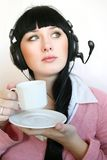 Support operator woman. Business customer support operator woman with a cup of hot drink Stock Photos