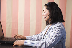 Support operator woman in office stock photo