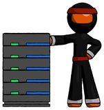 Support orange de serveur de Ninja Warrior Man With se penchant avec confiance l'AG illustration de vecteur