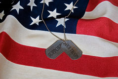 military dog tags on flag Royalty Free Stock Photos