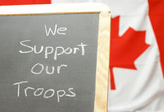 Support Our Troops. A handmade sign for supporting our Canadian troops Stock Image