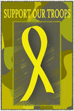 Support Our Troops - Yellow Ribbon. Camouflage theme illustration with a yellow ribbon and the message 'Support Our Troops Royalty Free Stock Photos