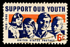 Support Our Youth Stamp. Honoring programs that support our youth for a better future. Issued 1968 Royalty Free Stock Photos