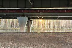 Support of the overpass of the western high-speed diameter - automobile highway stock image