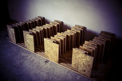 Support panel from OSB board - diy holder for insulation Royalty Free Stock Images