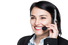 Support phone call center operator in headset Royalty Free Stock Photos