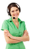 Support phone operator cheerful in headset Royalty Free Stock Photos