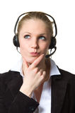 Support phone operator, deep in thought Stock Photo