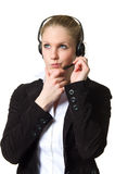 Support phone operator, deep in thought Royalty Free Stock Photography