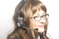 Support phone operator with eyeglasses in headset Royalty Free Stock Photos
