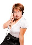 Support phone operator in headset Stock Photography