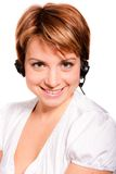 Support phone operator in headset. On white background Royalty Free Stock Images