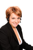 Support phone operator in headset Royalty Free Stock Photos