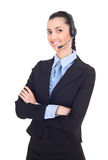 Support phone operator in headset Stock Photo