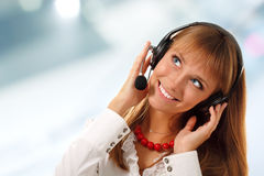 Support phone operator in headset Royalty Free Stock Images