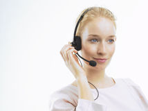 Support phone operator in headset Royalty Free Stock Photo