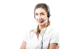 Support phone operator in headset Stock Photos