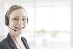 Support phone operator in headset Stock Images
