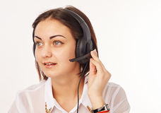 Support phone operator in headset Royalty Free Stock Photography