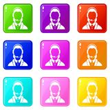 Support phone operator in headset set 9. Support phone operator in headset icons of 9 color set isolated vector illustration Stock Photography