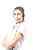 Support phone operator in headset Stock Image