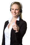 Support phone operator thumbs up Stock Photography
