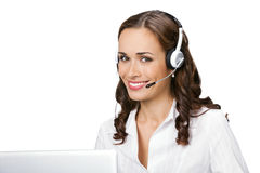 Support phone operator, on white stock photography