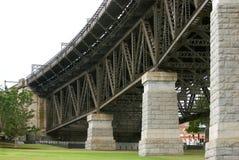 Support pillars and girders. Huge sandstone support pillars and iron girders of on-ramp to the Sydney Harbour Bridge Stock Images