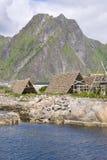 Support pour sécher le stockfisch chez Lofoten image libre de droits