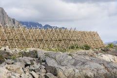 Support pour sécher le stockfisch chez Lofoten photographie stock libre de droits