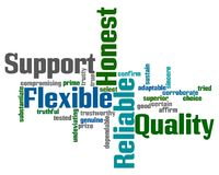 Support and Reliability Words. Word cloud with words Support, Quality, Flexible, Honest and Reliable stock illustration