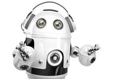 Support robot with headphone. Technology concept. Isolated. Contains clipping path. Royalty Free Stock Images