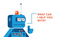 Support robot. Saying What can i help you with royalty free illustration